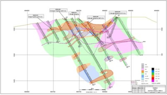 Yakuplu East Prospect Section - showing drilling results from September 1, 2014 to November 18, 2015. Note historic iron ore pit at center. (CNW Group/Alacer Gold Corp.)