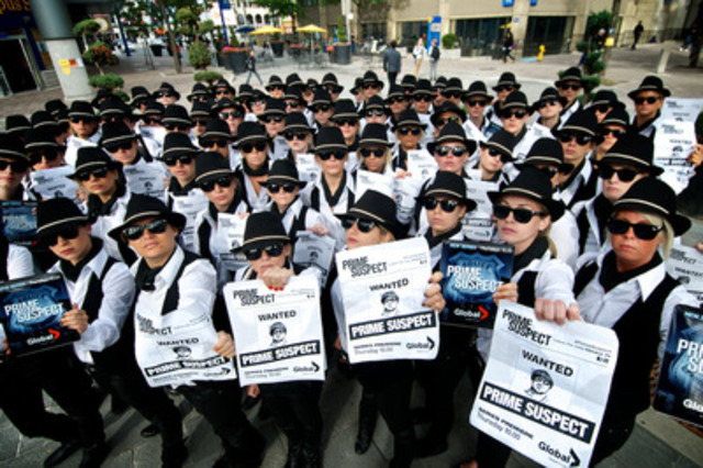 100 actors dressed as Maria Bello's character from Prime Suspect hit the streets of Toronto to promote its premiere this Thursday night on Global at 10pm ET/PT. (CNW Group/Global Television)