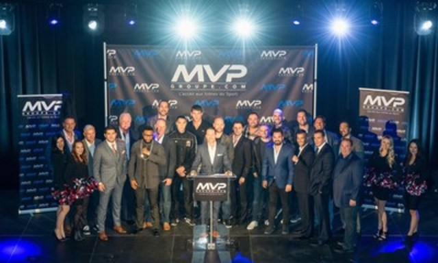 MVP Group's official Launch with Simon Arsenault, president-founder; Camille Estephan, associate; and more than fifteen top athletes. (CNW Group/Groupe MVP)