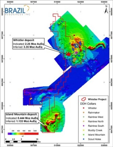 Figure 1: Whistler Project showing location of Whistler and Island Mountain deposits. (CNW Group/Brazil Resources Inc.)