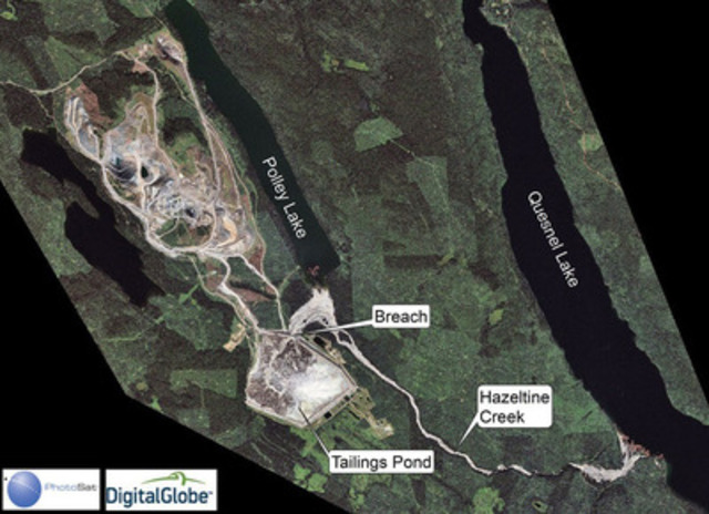High resolution satellite photo of Mount Polley mine and tailings dam (CNW Group/PhotoSat Information Ltd)