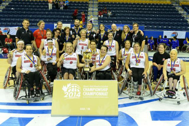 Canada a remporté la médaille d'or au Championnat du monde féminin de basketball en fauteuil roulant 2014 avec une victoire de 54-50 contre l'Allemagne, le 28 juin 2014, au Mattamy Athletic Centre, à Toronto, Ont.  (Groupe CNW/Basketball en fauteuil roulant Canada)