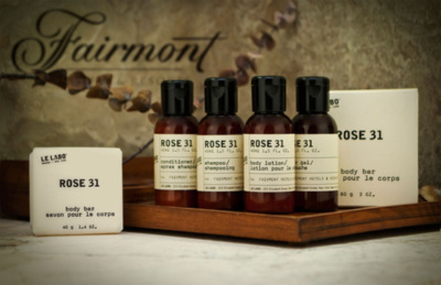 Fairmont has teamed with New York perfumer Le Labo to offer guests a fresh new amenity lineup featuring an exclusive scent - Rose 31. (CNW Group/Fairmont Hotels & Resorts)