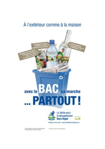 """""""La Table pour la récupération hors foyer a rendu public son rapport d'activités 2008-2011. Dorénavant, les citoyens de 450 villes du Québec peuvent disposer des matières recyclables dans les aires publiques. De plus, 3 325 gestionnaires de restaurants, bars et hôtels supplémentaires récupèrent maintenant l'ensemble de leurs matières recyclables."""" (Groupe CNW/LA TABLE POUR LA RECUPERATION HORS FOYER)"""