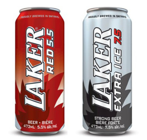Laker Extra Ice and Laker Red Tall Cans (CNW Group/Brick Brewing Co. Limited)