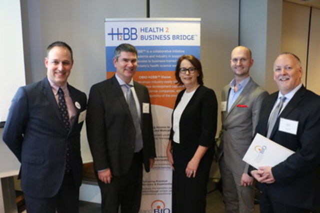 At OBIO's APM. From l to r – Michael Ras (Senior Counsel, Public Affairs, HOWE&WYE), Steve Virtue (President and CEO, HOWE&WYE), Gail Garland (CEO, OBIO), Nate Habermeyer (Managing Partner, HOWE&WYE), Robert Eakins (Senior Counsel, Healthcare, HOWE&WYE). Photo Credit: Angela Drennan, OBIO. (CNW Group/Howe & Wye)