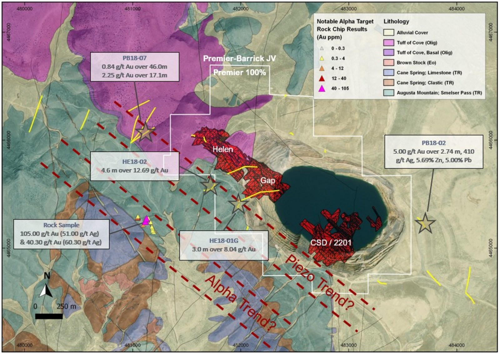 Figure 5: Geological map of the McCoy-Cove Project showing the Cove Carve Out outline and the Piezo Trend and Alpha Trend. The red mineralized zones are from the PEA. The new exploration discoveries are highlighted with a star.