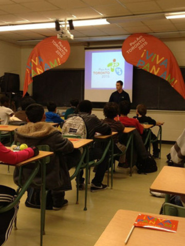 Olympian Jason Burnett gives motivational presentation to T. L Kennedy Secondary School (CNW Group/Toronto 2015 Pan/Parapan American Games)