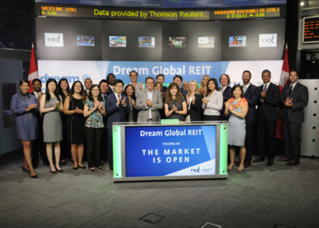 Jane Gavan, President & Chief Executive Officer, Dream Global Real Estate Investment Trust (DRG.UN), joined Ungad Chadda, President, Capital Formation, Equity Capital Markets, TMX Group, to open the market to celebrate five years listed on Toronto Stock Exchange. Dream Global REIT is an unincorporated, open-ended real estate investment trust that provides investors with the opportunity to invest in commercial real estate exclusively outside of Canada. Dream Global REIT commenced trading on Toronto Stock Exchange on August 3, 2011. (CNW Group/TMX Group Limited)