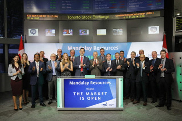 Mark Sander, President & CEO, Mandalay Resources Corporation (MND), joined Orlee Wertheim, Head, Business Development, Global Mining, TMX Group to open the market to celebrate 5 years listed on Toronto Stock Exchange. Mandalay Resources is a Canadian-based natural resource company with producing assets in Australia, Chile and Sweden, and a development project in Chile. Mandalay Resources Corporation commenced trading on Toronto Stock Exchange on June 25, 2010. (CNW Group/TMX Group Limited)