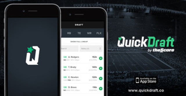 QuickDraft by theScore is the fantasy sports game for all fans - not sharks (CNW Group/theScore, Inc.)