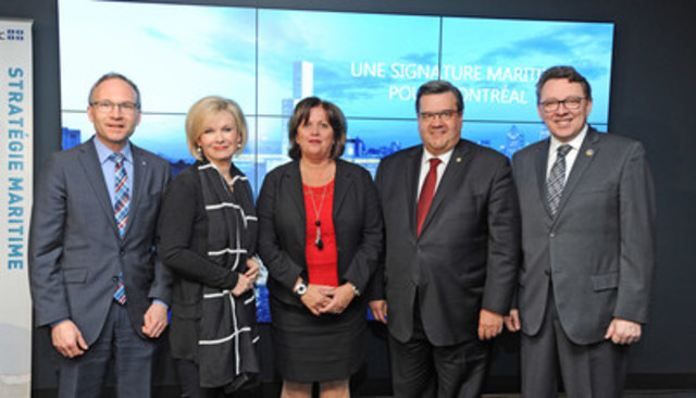 Martin Coiteux, Minister of Municipal Affairs and Land Occupancy, Minister of Public Security, Minister responsible for the Montreal region; Julie Boulet, Minister of Tourism, Minister responsible for the Mauricie region; Sylvie Vachon, President and CEO, Montreal Port Authority; Denis Coderre, Mayor of Montreal; Jean D'Amour, Minister for Maritime Affairs, Minister responsible for the Bas-Saint-Laurent region. (CNW Group/PORT OF MONTREAL)