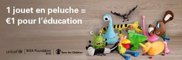 IKEA lance la campagne des jouets en peluche afin répandre le pouvoir de l'éducation grâce à une nouvelle sélection de jouets en peluche imaginés par des enfants. (Groupe CNW/UNICEF Canada)