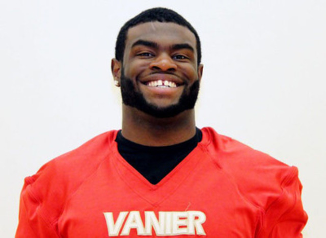 Vanier Cheetahs football defensive lineman Julien Kafo has been offered a full scholarship to attend the University of Minnesota Division 1 program starting in the fall 2014. Julien is a third year student and football player at Vanier College in Montreal. He will be graduating in the Social Science program. (CNW Group/Vanier College)