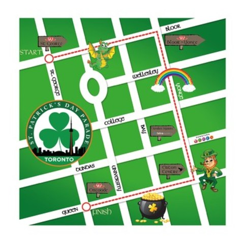 The 2016 Toronto St. Patrick's Day Parade will begin at 12:00 p.m. on Sunday, March 13. The procession starts at Bloor and St. George (near old U of T Varsity Stadium), then continues along Bloor Street, down Yonge and finishes on Queen Street at Nathan Phillips Square. Spectators are encouraged to bring a non-perishable food item to donate to the Toronto Paramedics Association St. Patrick's Day Parade Food Drive. www.stpatrickstoronto.com (CNW Group/St. Patrick's Parade Society)