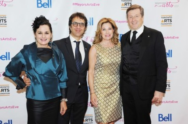 Business raises about $1.4 million for Toronto artists at Mayor's Evening for the Arts on October 26, 2015  (L to R) Filmmaker, Atom Egoyan, Producer; Veronica Tennant; Mayor John Tory and his wife Barbara Hackett (photo credit Townend / Sandler ) (CNW Group/Toronto Arts Foundation)