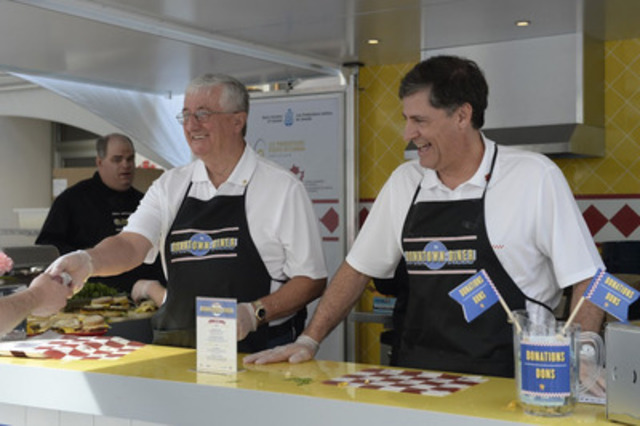 Egg Farmers of Canada Chair, Peter Clarke, and Turkey Farmers of Canada Chair, Mark Davies, serve up sandwiches at Downtown Diner in Ottawa. (CNW Group/Egg Farmers of Canada)