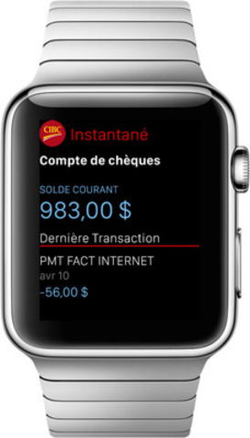 Application Services bancaires mobiles CIBC pour Apple Watch (Groupe CNW/Banque CIBC)