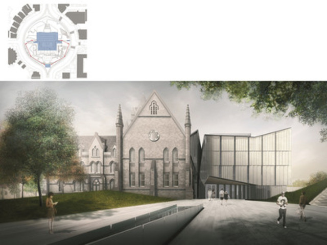 Prize winning project 'Heritage Reframed: University building renovation and extension' (University of Toronto) rendering. The complete site restores the architecture, landscape and urban design within the round of Spadina Crescent. The east façade and green space frame a plaza oriented towards the University of Toronto Campus. (CNW Group/Holcim Canada Inc.)