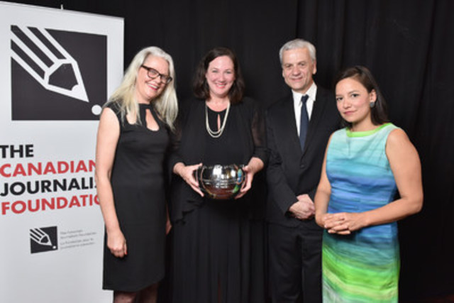 CBC News won the CJF Jackman Award for Excellence in Journalism in the large-media category at the CJF Awards. From left: Cate Friesen, senior producer with CBC Aboriginal, Jennifer McGuire, editor-in-chief of CBC News, Cecil Rosner, managing editor of CBC Manitoba, and Connie Walker, investigative reporter with CBC News. (CNW Group/Canadian Journalism Foundation)