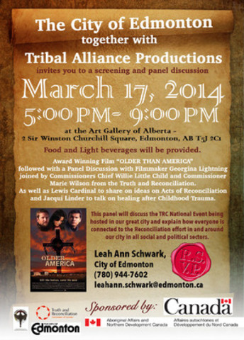 "Poster for Tribal Alliance Productions' screening of ""Older than America"" and panel discussion, March 17 from 5pm to pm at the Art Gallery of Edmonton (CNW Group/Truth and Reconciliation Commission of Canada)"