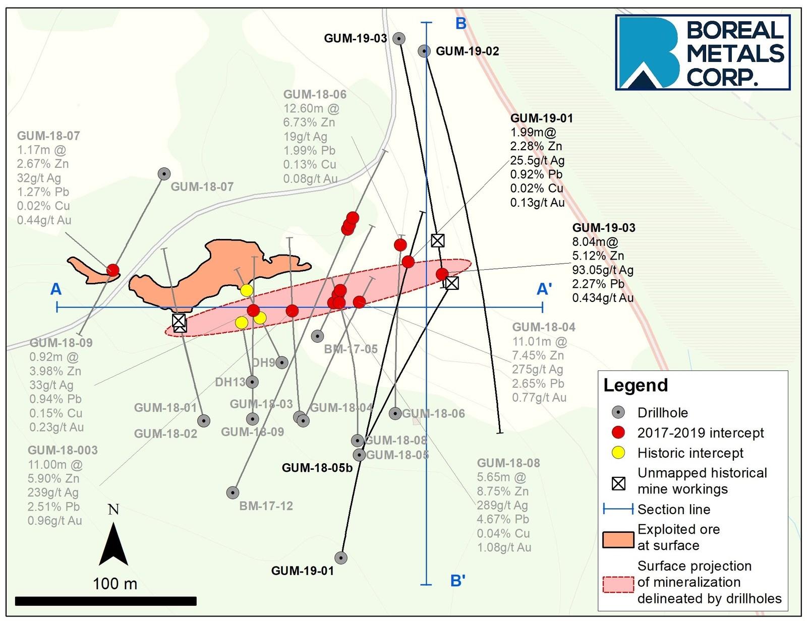 Figure 1. Östra Silvberg plan map drilling results