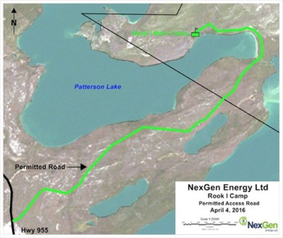 Figure 1: Plan Map and Planned Rook I Camp Access Road (CNW Group/NexGen Energy Ltd.)