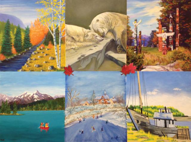 Les images du Canada qui ont inspiré les Artistes peintres de la bouche et du pied pour créer leur œuvre collective. (Groupe CNW/Mouth and Foot Painting Artists of Canada)