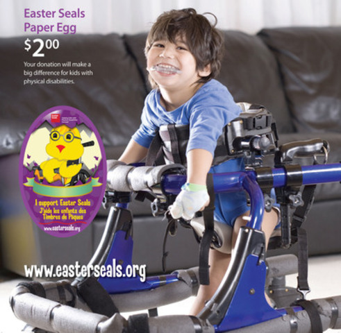 This is the final week of the annual Easter Seals Paper Eggs campaign, which benefits children and youth with physical disabilities across the province. $2 Paper Eggs can be purchased at a variety of retailers. (CNW Group/Easter Seals Ontario)