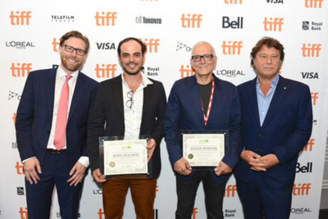 CMPA President and CEO Reynolds Mastin (left) with CMPA Feature Film Producer Award winners, Hany Ouichou (centre left) and Roger Frappier (centre right), and Jury Chair Robert Lantos (right) (CNW Group/Canadian Media Producers Association (CMPA))