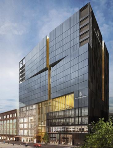 Rendu d'architecture de l'Hôtel et résidences privées Four Seasons Montréal sur la rue de la Montagne, un projet de Carbonleo (Groupe CNW/Carbonleo)