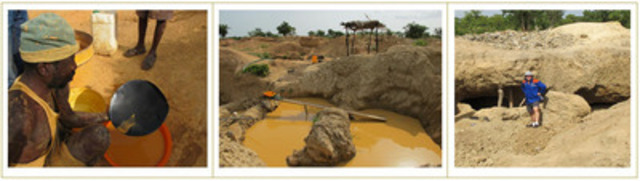 Artisanal workings at Josephine prospect (CNW Group/Azumah Resources Inc)