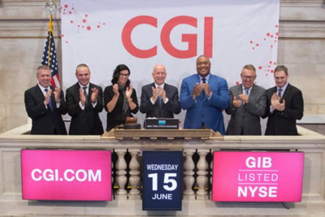 Les dirigeants de CGI ont souligné le 40e anniversaire de l'entreprise en sonnant la cloche de clôture de la Bourse de New York (Groupe CNW/Groupe CGI inc.)