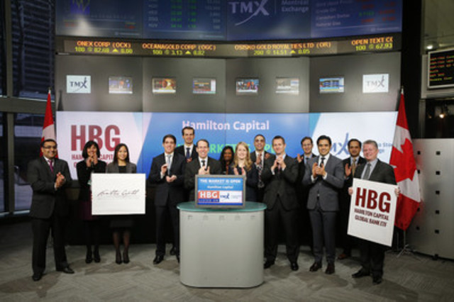 Rob Wessel, Managing Partner, Hamilton Capital Partners, joined Dani Lipkin, Head, Business Development, Exchange Traded Funds, Closed-End Funds, and Structured Notes, TMX Group to open the market to launch Hamilton Capital Global Bank Exchange Traded Funds (HBG). As at December 31, 2015, there were 374 Exchange Traded Funds (ETF) listed on TSX, with a total market capitalization of $97.6 billion. HBG is Hamilton Capital's first ETF listed on TSX. HBG commenced trading on Toronto Stock Exchange on January 25, 2016. For more information please visit www.hamilton-capital.com. (CNW Group/TMX Group Limited)