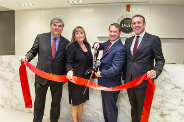 (Left to right): Luc Paiement, Executive Vice-President –Wealth Management and Co-President and Co-Chief Executive Officer, National Bank Financial; Meghan Meger, President of Private Banking 1859 – Western Canada; Louis Vachon, President and Chief Executive Officer of National Bank of Canada; and Éric Bujold, President, Private Banking 1859. (CNW Group/National Bank of Canada)