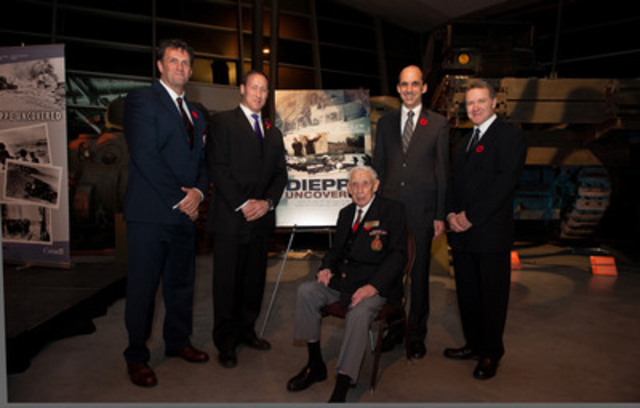 David O'Keefe, Military Historian, The Honourable Peter MacKay, Minister of National Defence, Dieppe Veteran Arthur Russel, The Honourable Steven Blaney, Minister of Veterans Affairs, and Wayne Abbott, Film Producer at the Veterans' Week screening of Dieppe Uncovered at the Canadian War Museum. (CNW Group/Veterans Affairs Canada)