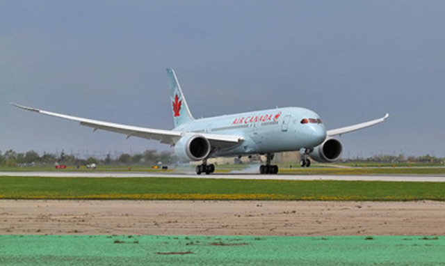 Flight AC7008, Air Canada's first 787 Dreamliner, lands at Toronto's Pearson Airport, Sunday May 18, 2014. (CNW Group/Air Canada)
