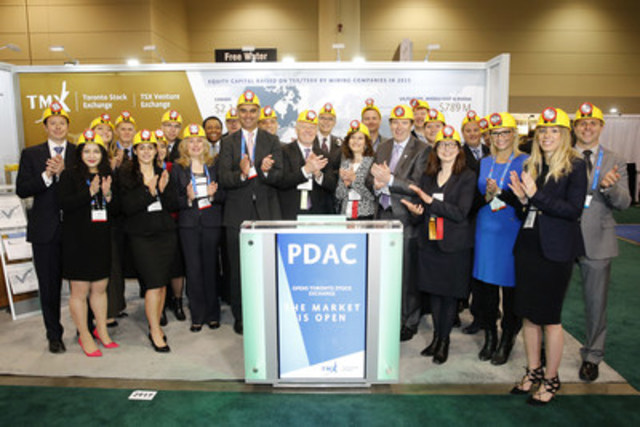 Rod Thomas, President of the Prospectors & Developers Association of Canada (PDAC), joined Nick Thadaney, President and CEO, Global Equity Capital Markets, TMX Group to open the market from TMX Group's booth #2917 on the floor of the association's annual convention in Toronto that is taking place March 6-9, 2016. With a membership of over 8,000, the PDAC's mission is to promote a responsible, vibrant and sustainable Canadian mineral exploration and development sector. The PDAC encourages leading practices in technical, environmental, safety and social performance in Canada and internationally. Since it began in 1932, the annual PDAC Convention has grown in size and scope. In 2015, the event included nearly 1,000 exhibitors and over 23,000 attendees from 116 countries, as well as numerous technical sessions, short courses, social and networking events. (CNW Group/Toronto Stock Exchange)