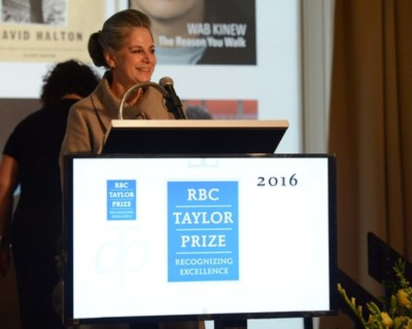 RBC Taylor Prize Founder Noreen Taylor speaks at the announcement of the 2016 winner. (CNW Group/RBC Taylor Prize)