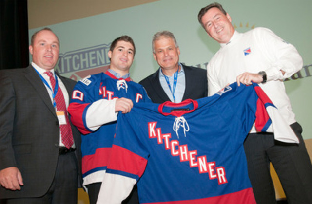 Michael Catenacci wears the new Kitchener Rangers' warm-up jersey after being named team captain for the ...