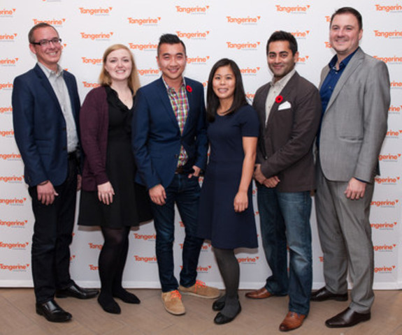 Tangerine rolled out the orange carpet at their Downtown Toronto Café to kick-off Financial Literacy Month with an event and panel discussion featuring notable personal finance specialists. The diverse panel included Joe Snyder, Product Management Analyst Investments at Tangerine; blogger Cait Flanders; host Winston Sih of Breakfast Television; blogger Krystal Yee; personal finance expert and media personality Preet Banerjee; and Silvio Stroescu, Managing Director of Deposits and Investments at Tangerine. (CNW Group/Tangerine)