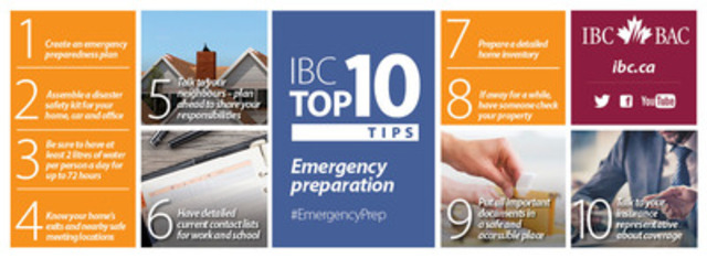 IBC Top 10: Tips to prepare your family for an emergency (CNW Group/Insurance Bureau of Canada)