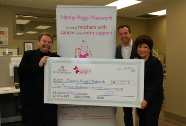 Sam Reiss, president New Home Buyers Network receives a big smile from Nanny Angel Network's Audrey Guth, Executive Director and Mitchell Praw, COO on delivering the first of twelve donation instalments his company has pledged to the charity. New home and condominium sales in the GTA for the month of January 2015, tabulated by RealNet, totaled 1,939. (CNW Group/New Home Buyers Network Inc.)