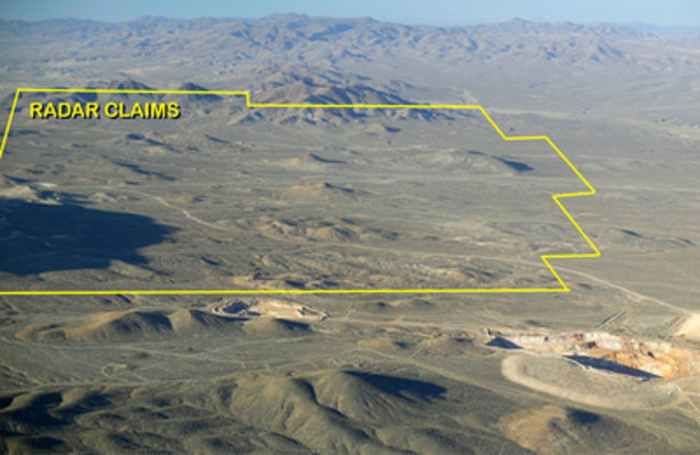 Figure 1 - Aerial photo of Radar property, showing Paradise Peak mine pits in foreground. (CNW Group/Altan Nevada Minerals Limited)
