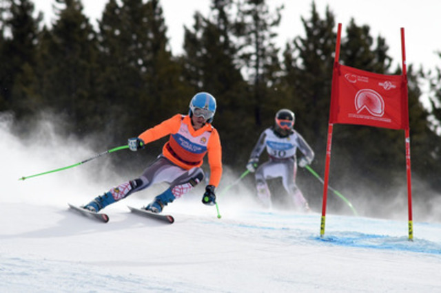 Panorama, BC (Thursday, March 5, 2015) - Canada's Mac Marcoux and brother BJ Marcoux (guide) skied hard during Thursday's Super-G (visually impaired) race at the IPC Alpine Skiing World Championship in Panorama, BC claiming silver - making it two podiums in two days for the Marcoux brothers. (CNW Group/Canadian Paralympic Committee (CPC))