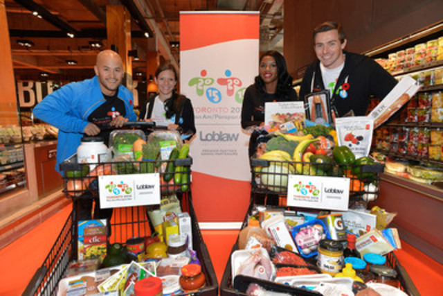 Athletes filled their shopping carts at the Loblaws store at 60 Carlton Street in Toronto, Friday, November 8, 2013, at the announcement by TORONTO 2015 that Loblaw Companies will be the Official Grocery Retailer for the Games in 2015. Shown at the announcement are (from left to right) David Eng, Paralympian, wheelchair basketball gold and silver medallist; Lanni Marchant Canadian marathon record holder; Perdita Felicien, two-time Pan Am silver medallist and world champion hurdler; and Mark Oldershaw, Olympic bronze medallist and seven-time world cup gold medallist, canoe (sprint). (CNW Group/Toronto 2015 Pan/Parapan American Games)