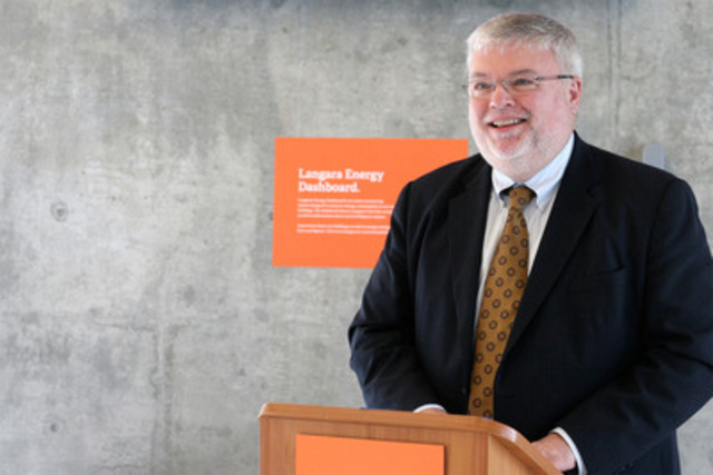 College President Dr. David Ross announces Langara's LEED(R) Canada Gold Certification in the Students' Union Building (CNW Group/Langara College)