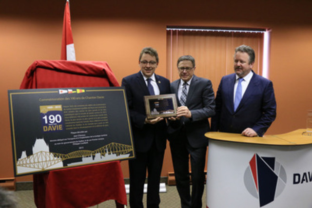 Unveiling of the commemorative plaque of the 190 years of Chantier Davie with Minister for Transport and the Implementation of the Maritime Strategy Mr. Jean D'Amour, the mayor of Levis, Mr. Gilles Lehouiller and the Chief Executive Officer of Chantier Davie Canada Inc., Mr. Alan Bowen  (CNW Group/Davie Shipbuilding)