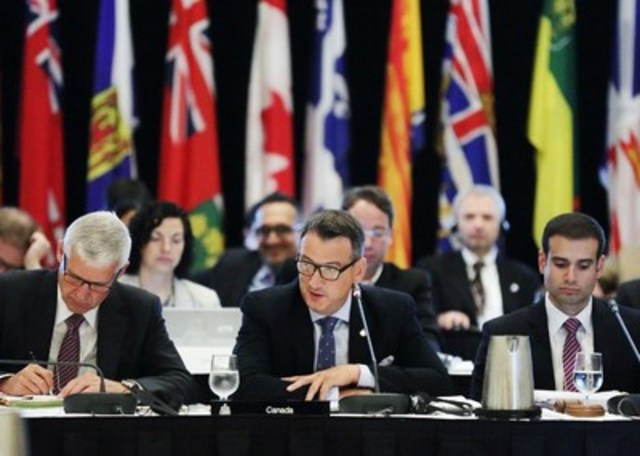 The Honourable Greg Rickford, Canada's Minister of Natural Resources, calls the 2015 Energy and Mines Ministers' Conference to order in Halifax, Nova Scotia, on July 20, 2015. The ministers discussed the importance of Responsible Resource Development in supporting Canadian jobs and economic prosperity. (CNW Group/Natural Resources Canada)