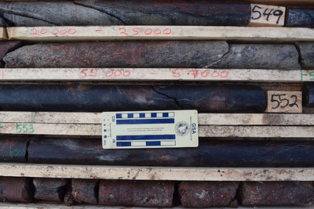 Photo 6: AR-14-30 - Massive Pitchblende Mineralization from 551.5 to 552.0 m (CNW Group/NexGen Energy Ltd.)